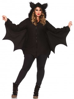 Süsse Fledermaus Halloween-Damenkostüm Übergrössen schwarz