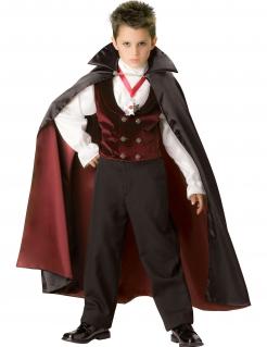 Graf Dracula Gothic-Vampir Halloween Kostüm für Kinder Deluxe rot-schwarz-weiss
