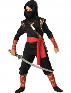 Edles Ninja-Kostüm für Kinder Halloween-Kostüm schwarz-rot-gold