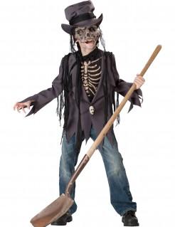 Altes Skelett Halloween-Kinderkostüm Wiedergänger grau-schwarz-beige