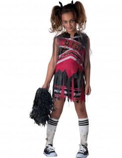 Zombie Cheerleader Halloween Kinderkostüm schwarz-rot-weiss