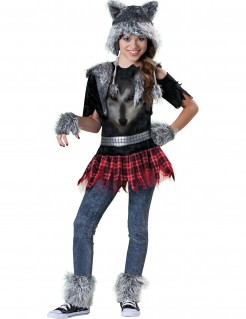 Werwölfin Halloween Kinderkostüm schwarz-rot-grau