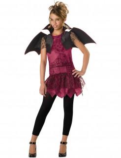 Fledermaus-Damenkostüm Vampirin mit Flügeln bordeaux-schwarz