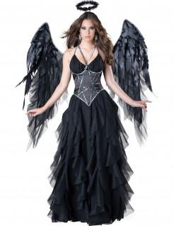 Todesengel Gefallener Engel Damenkostüm mit Flügeln schwarz-grau