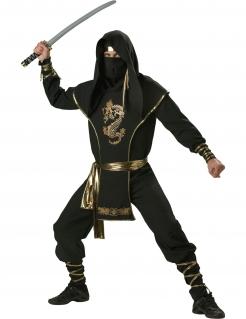 Deluxe Ninja-Kostüm für Herren - schwarz-goldfarben