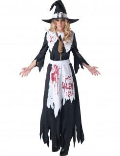 Blutige Hexe Halloween-Damenkostüm schwarz-weiss-rot