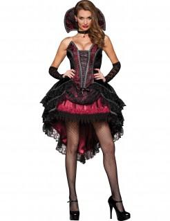 Edles Vampirgräfin Halloween-Damenkostüm schwarz-rot
