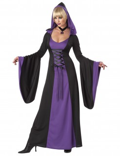 Mittelalter Halloween Damenkostüm Plus Size lila-schwarz