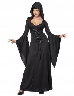 Luxus Vampirin Damenkostüm Kapuzen-Kleid schwarz