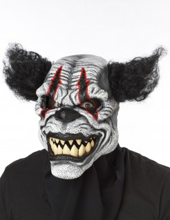 Psycho Killer Clown Ani-Motion Halloween Maske schwarz-weiss-rot