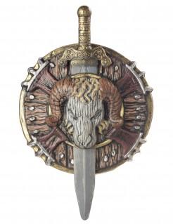 Barbaren Schild und Schwert mit Widderschädel braun-grau 50cm