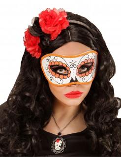 Glitzer Augenmaske orange - Dìa de los Muertos orange-weiss-schwarz
