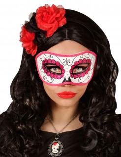 Glitzer Augenmaske rosa - Dìa de los Muertos rosa-weiss-schwarz