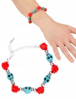 Tag-der-Toten-Kette Totenschädel-Armband mit Totenköpfen silber-türkis-rot