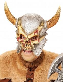 Viking Totenkopf Maske mit Hörnern grau-beige