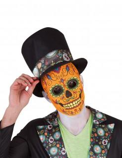 Tag der Toten Kürbis-Skelett Halloweenmaske Kostümzubehör orange-bunt