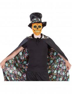 Dia de los Muertos Umhang Sugar Skull Umhang schwarz-bunt 120cm