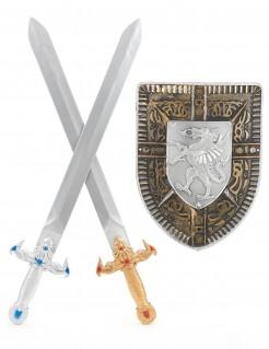 2 Ritterschwerter und 1 Schild für Kinder silbern-golden