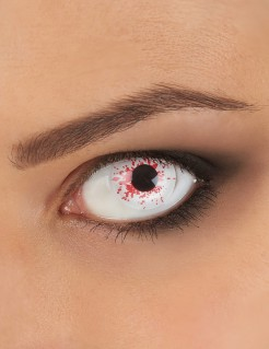 Untoten Kontaktlinsen mit Blutspritzern Halloween Kostüm-Accessoire weiss-rot 14,5mm
