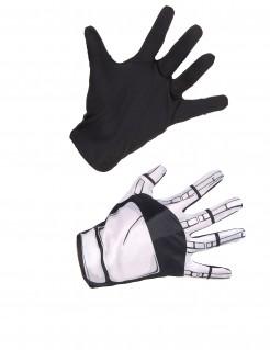 Captain Phasma Star Wars VII™ Handschuhe für Erwachsene schwarz-weiss 23cm