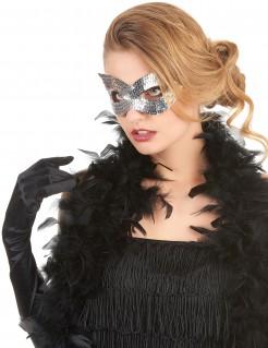 Pailletten-Maske Venezianische Maske für Erwachsene silber