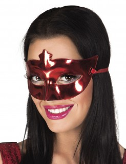 Glänzende Augenmaske Teufelin-Maske rot