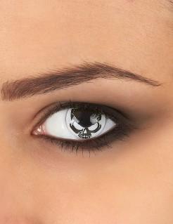 Kontaktlinsen Totenschädel schwarz-weiss