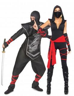 Ninja-Paarkostüm für Erwachsene schwarz-silber-rot