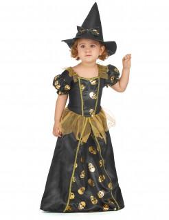 Kleine Zauberin Hexen-Kinderkostüm mit Totenschädeln schwarz-gold