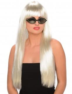 Popstar Perücke mit Pony lang platinblond