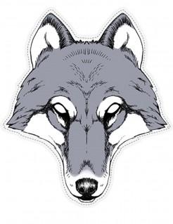 Gruselige Wolf-Maske Papier-Maske Halloween grau-weiss