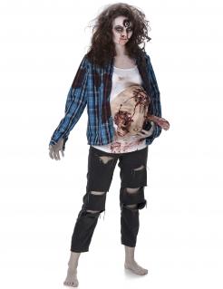 Schwangere Zombie-Frau Halloween-Damenkostüm blau-weiss