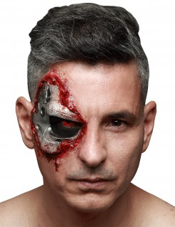 Terminator Genisys™ Latexapplikation Halloween-Make-up silber-rot