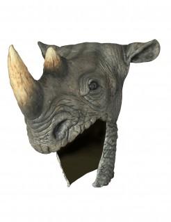Nashorn Helm Latex-Halbmaske grau-beige