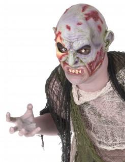 Zombie Maske mit Gebiss Halloween Kostümaccessoire grau-rot-grün