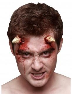 Blutige Teufelshörner Halloweenkostüm-Accessoire 2 Stück beige-rot 3x5cm