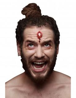 Kopfschuss-Applikation Wunde für Halloween hautfarben-rot 6x4cm