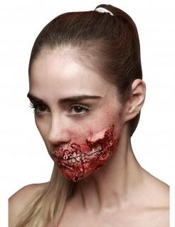 Horror-Latexwunde Zerfleischter Mund rot 9x7cm