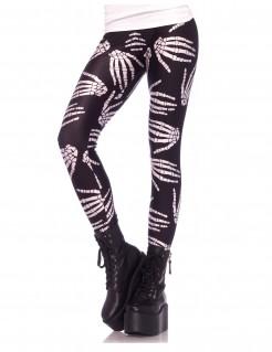 Skeletthand-Leggings Knochen-Hose schwarz-weiss
