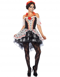 Day of the Dead Sugar Skull Plus Size Halloween-Damenkostüm schwarz-weiss-bunt