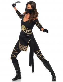 Ninjakostüm für Damen Drachen-Motiv schwarz-gold
