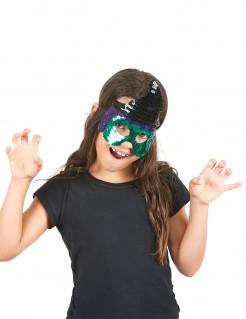 Süße Hexe Halloween-Kindermaske schwarz-grün-lila