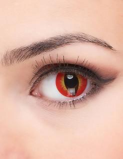 Kontaklinsen - Augen der Hölle rot-gelb-braun
