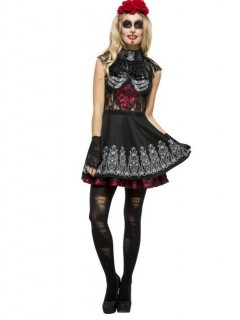 Skelett-Damenkostüm Tag-der-Toten-Kleid schwarz-weiss-rot