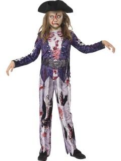 Zombie-Pirat Halloween Kinderkostüm lila-grau