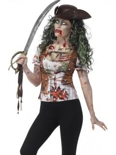T-Shirt Zombie-Piratin für Erwachsene bunt