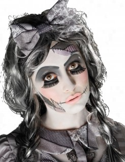 Unheimliche Puppe Halloween Make-up Kit weiss-grau