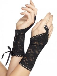 Kurze Handschuhe mit Spitze für Erwachsene schwarz