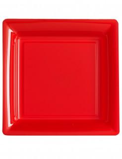 Quadratische Teller 12 Stück rot 23,5cm