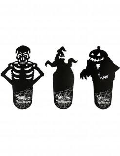 Untersetzer Halloween Tischdekoration 6-teilig 3 verschiedene Designs schwarz-weiss
